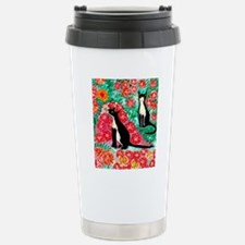 cats and roses narrow Stainless Steel Travel Mug