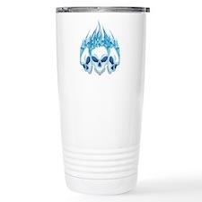 Flaming Blue Skulls Travel Mug