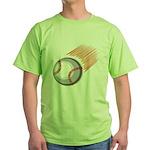Flaming Baseball Green T-Shirt