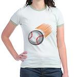Flaming Baseball Jr. Ringer T-Shirt