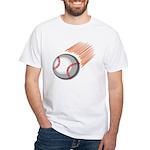 Flaming Baseball White T-Shirt