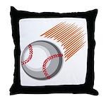 Flaming Baseball Throw Pillow