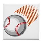 Flaming Baseball Tile Coaster