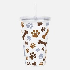 Dog Paw Prints Pattern Acrylic Double-wall Tumbler