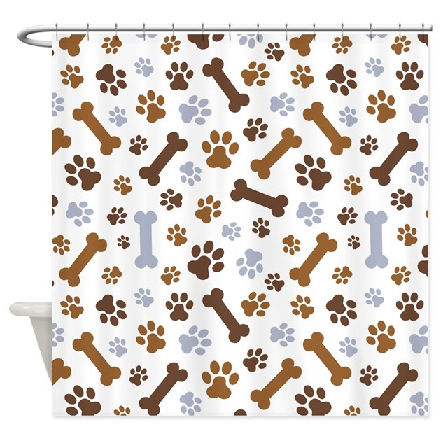 Dog Paw Prints Pattern Shower Curtain By PinkInkArt2