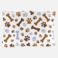 Dog Paw Prints Pattern Pillow Case