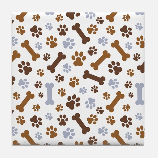 Dog Paw Prints Pattern Tile Coaster