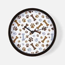 Dog Paw Prints Pattern Wall Clock
