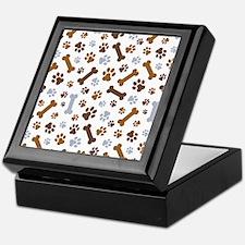 Dog Paw Prints Pattern Keepsake Box