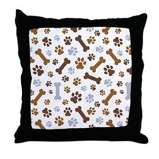 Dog Paw Prints Pattern Throw Pillow