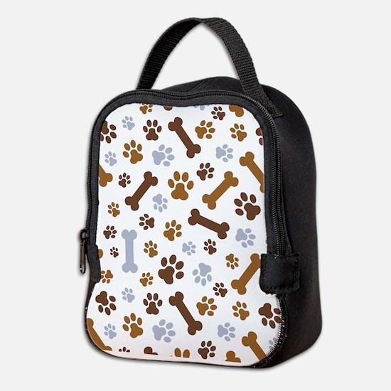 Dog Paw Prints Pattern Neoprene Lunch Bag