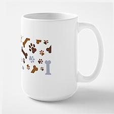 Dog Paw Prints Pattern Large Mug