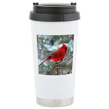 Red Cardinal on a snowy Travel Mug