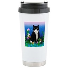 Tuxedo Cat among the Fl Travel Mug