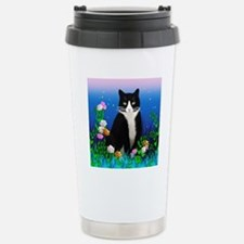 Tuxedo Cat among the Fl Travel Mug
