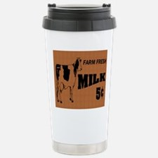 cow on wooden sign note Stainless Steel Travel Mug