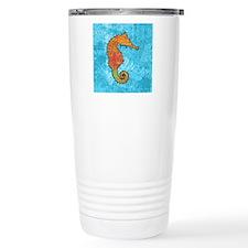 seahorseOrangeSquare Travel Mug