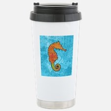 seahorseOrangeSquare Travel Mug