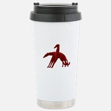 Red Holiday Borzoi Stainless Steel Travel Mug
