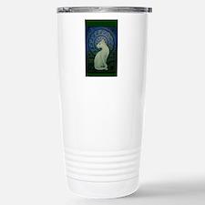white cat oval Travel Mug