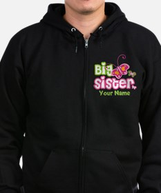 Custom Big Sister paterfly Zip Hoodie