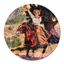 Lady Rider Round Car Magnet