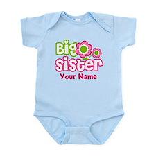 Custom Big Sister Pink Green Infant Bodysuit