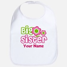 Custom Big Sister Pink Green Bib