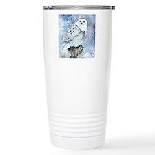 snowy owl square Travel Coffee Mug