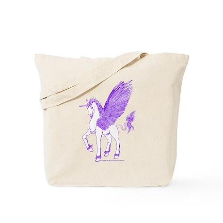 Violet Winged Unicorn Tote Bag