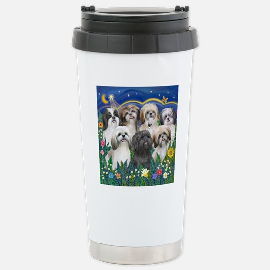 Tile-MoonGarden-7ShihTz Stainless Steel Travel Mug
