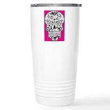 sugarskull pink backgro Travel Mug