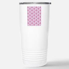 Pink White Skulls Travel Mug