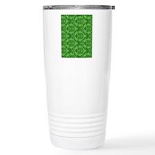 Green Damask Travel Coffee Mug