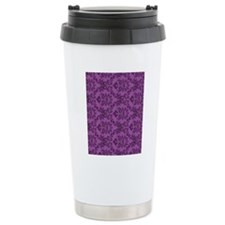Purple Damask Travel Coffee Mug