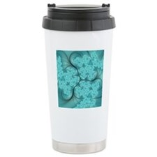 teal feather fractal ar Travel Coffee Mug