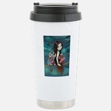 Autumn Owl and Fairy Stainless Steel Travel Mug