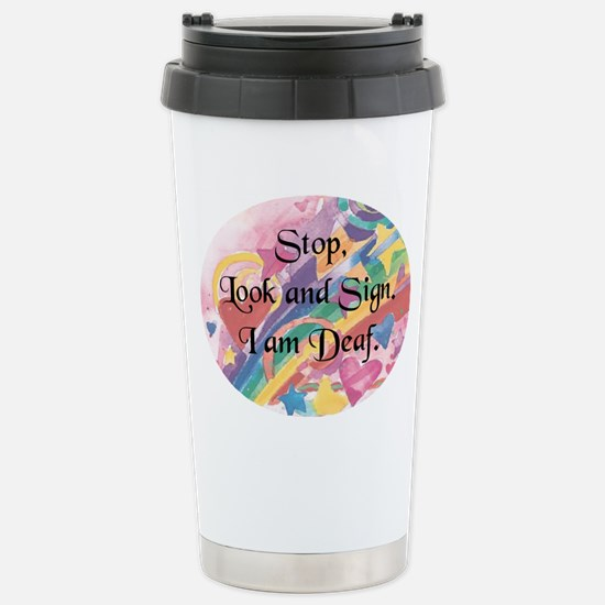 Stop Look-rnd Stainless Steel Travel Mug