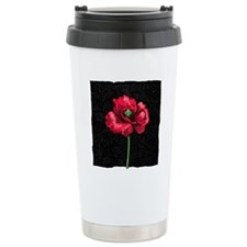 Poppy flower, woodcut Travel Mug