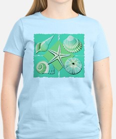 Collage of Beach Seashells Shades of Blue Green T-