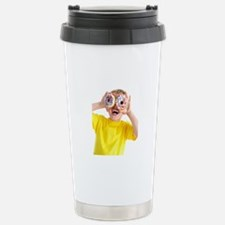 Boy playing with doughn Stainless Steel Travel Mug