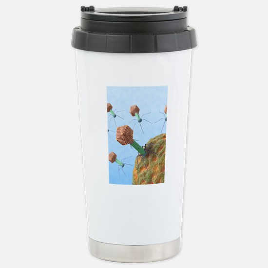 Bacteriophages attackin Stainless Steel Travel Mug