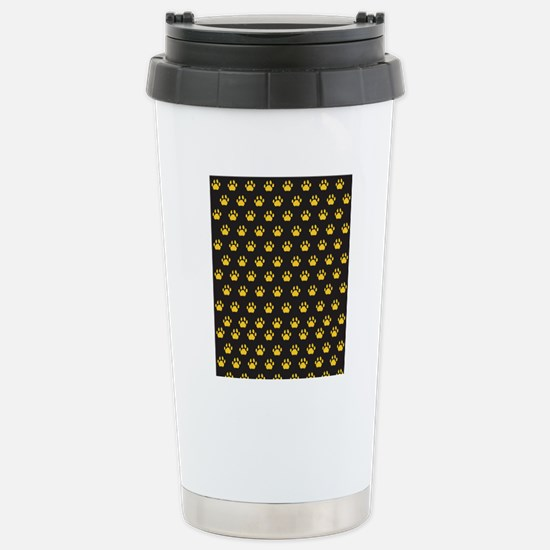 Black with gold cougar  Stainless Steel Travel Mug