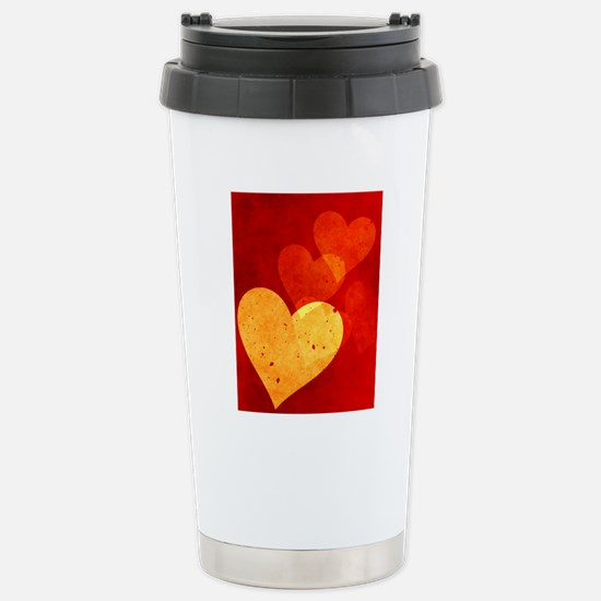 Red and Yellow Vintage  Stainless Steel Travel Mug
