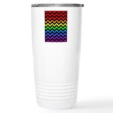 Rainbow and Black Chevr Travel Mug