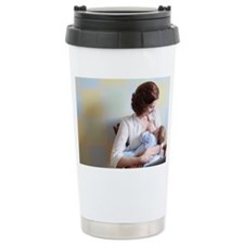 young mother breast fee Travel Mug