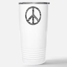 Grey Camo Peace Logo Travel Mug