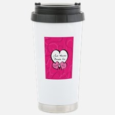 Pink Two Hearts Become  Travel Mug