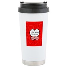 Red Two Hearts Engaged  Travel Coffee Mug