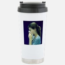 Woman blowing her nose Stainless Steel Travel Mug